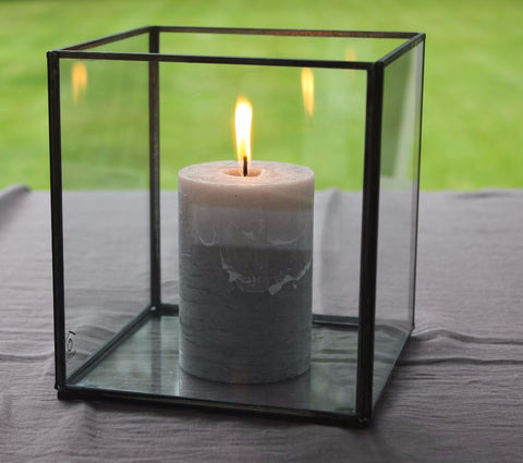 Simple Antique Zinc & Glass Box Lantern - Three Sizes