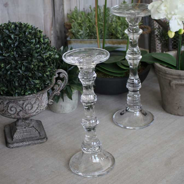 Tall Glass Candlestick For Pillar Or Dinner Candle Four