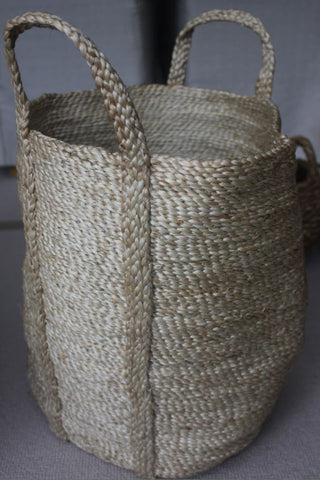 Small Round Jute Basket Natural