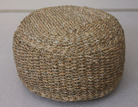 Small Round Seagrass Hogla Poufe