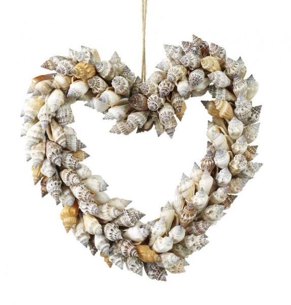 Natural Shell Heart Hanging Wreath - Greige - Home & Garden - Chiswick, London W4