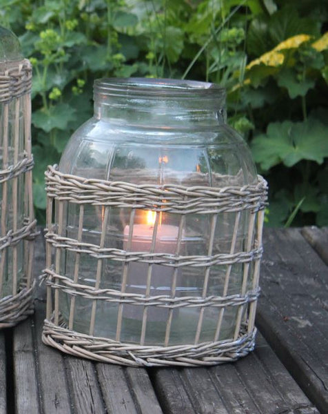 Glass Bottle Lantern or Vase with Lattice Willow Cover - Greige - Home & Garden - Chiswick, London W4