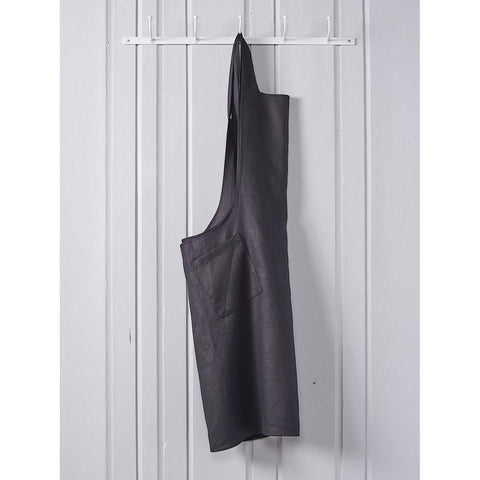 Pure Linen Cross Back Smock Apron Black