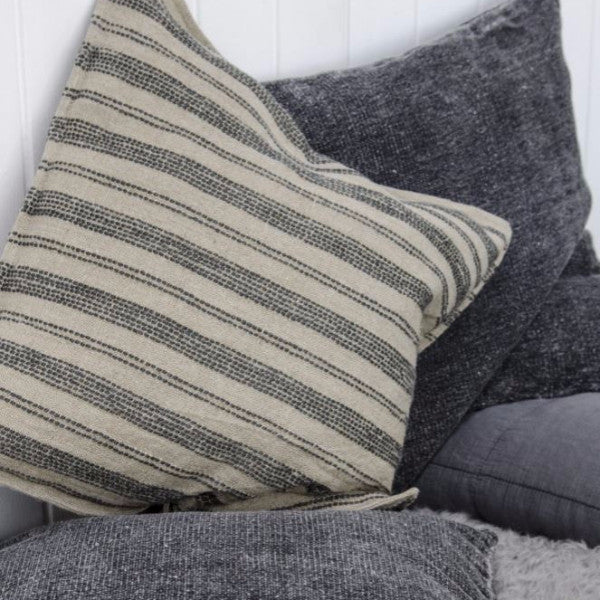 Linen Cushions Natural With Dark Grey Stripes