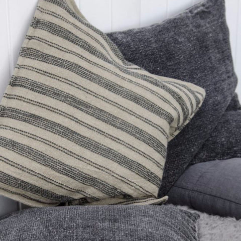 Linen Cushions - Natural with Dark Grey Stripes - Greige - Home & Garden - Chiswick, London W4