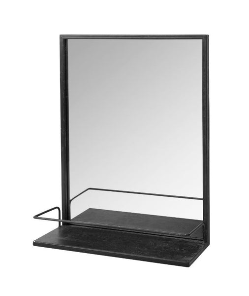 Metal Framed Mirror with Shelf - Antiqued Black Finish - Greige - Home & Garden - Chiswick, London W4