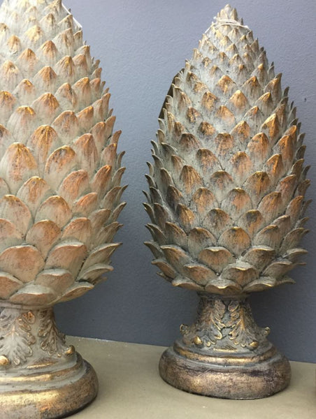 Golden Pine Cone Pinecone Finials