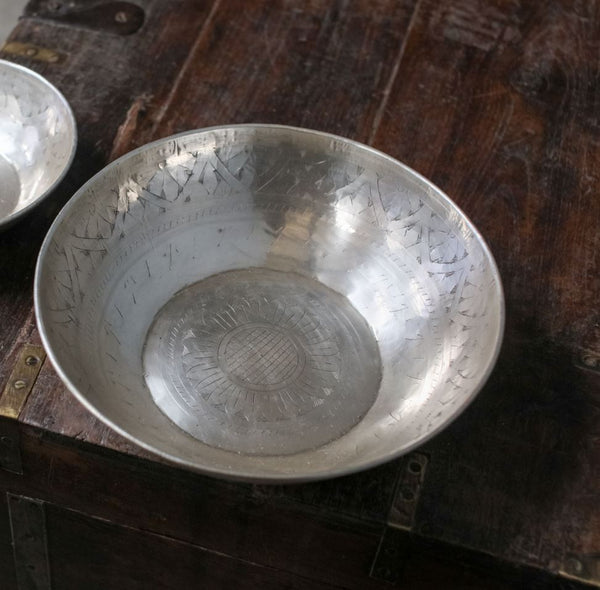Antique Silver Plated Brass Bowl with Engraving - Greige - Home & Garden - Chiswick, London W4
