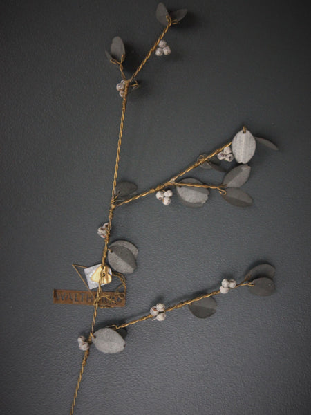Zinc Snowberry branch decoration with pearl berries Walther & Co Denmark