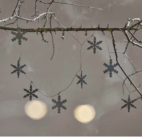 Galvanised Metal Snowflake Garland - Greige - Home & Garden - Chiswick, London W4