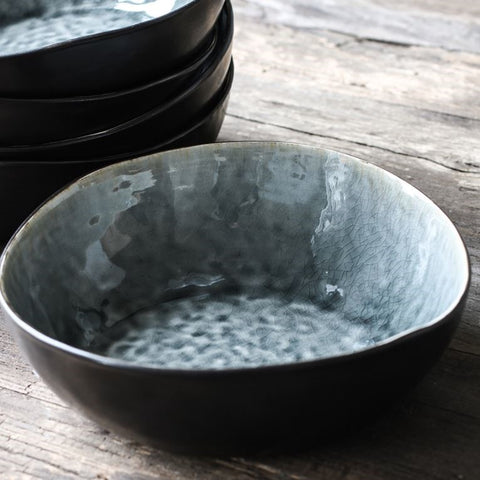 Grey Crackle Stoneware Series - Four Pasta Bowls - Greige - Home & Garden - Chiswick, London W4