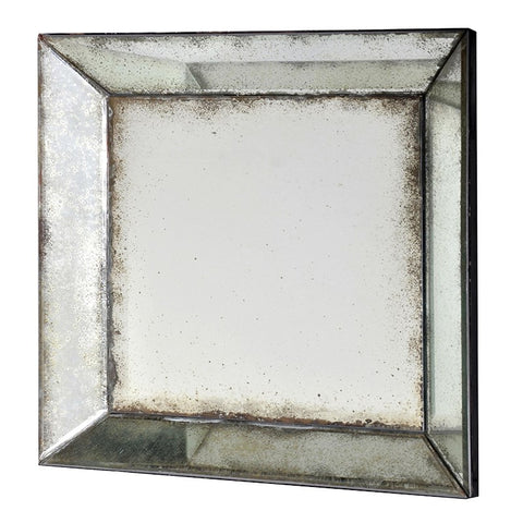 antiqued silver square Venetian wall mirror
