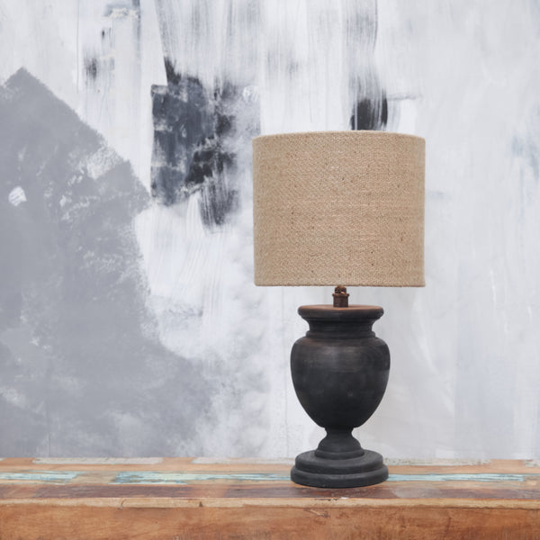 Squat Mango Wood Lamp Base with Distressed Black Finish - Greige - Home & Garden - Chiswick, London W4