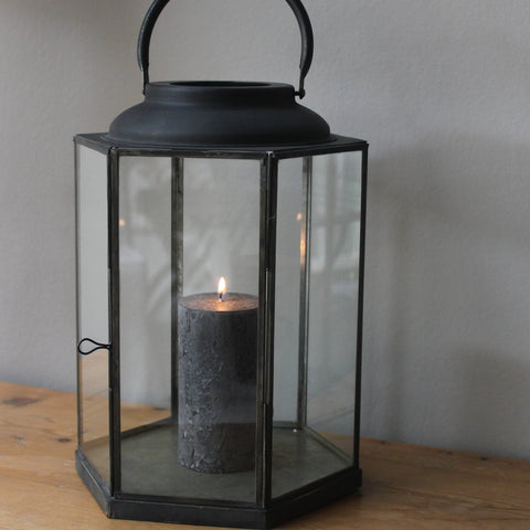 Antiqued Metal St Germain Lantern - Two Sizes - Greige - Home & Garden - Chiswick, London W4