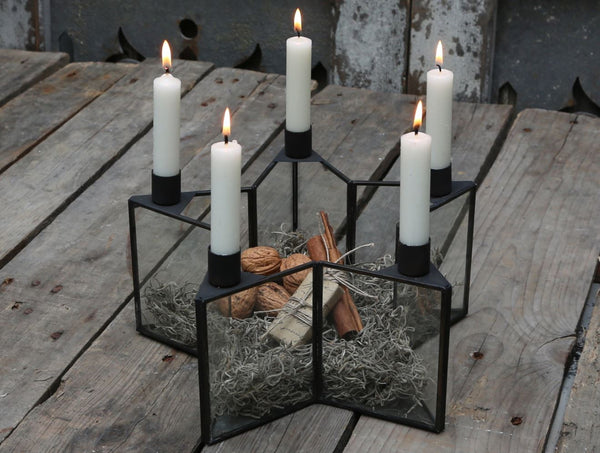 Antique Zinc and Glass Star Candle Holder Box - Greige - Home & Garden - Chiswick, London W4