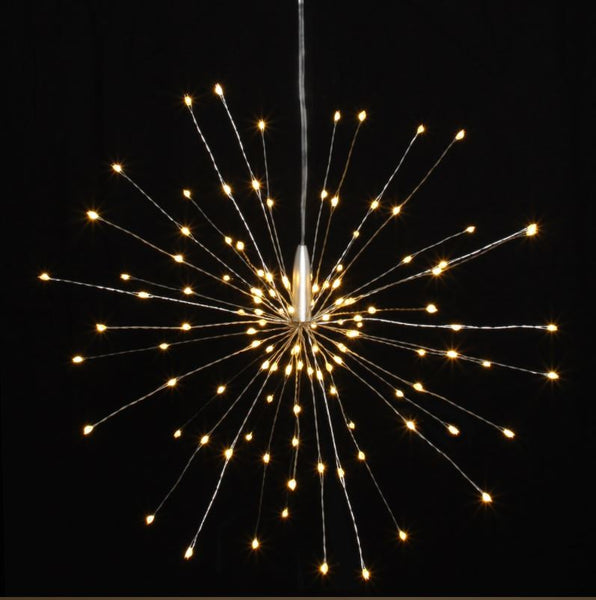 Large Hanging Starburst LED Light Decoration - Silver or Copper - Battery Operated - Greige - Home & Garden - Chiswick, London W4