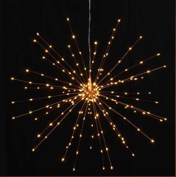 Large Hanging Starburst LED Light Decoration - Silver or Copper - Mains Operated