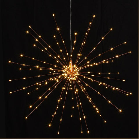 Large Hanging Starburst LED Light Decoration - Silver or Copper - Mains Operated - Greige - Home & Garden - Chiswick, London W4