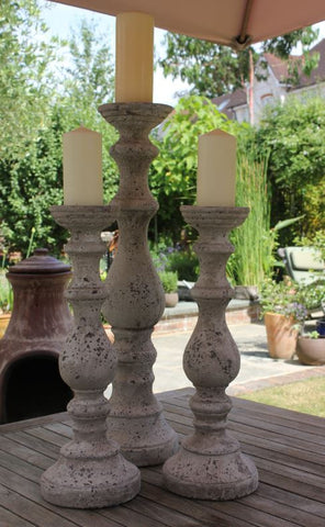 Magnificent Stone Effect Candlestick - Greige - Home & Garden - Chiswick, London W4