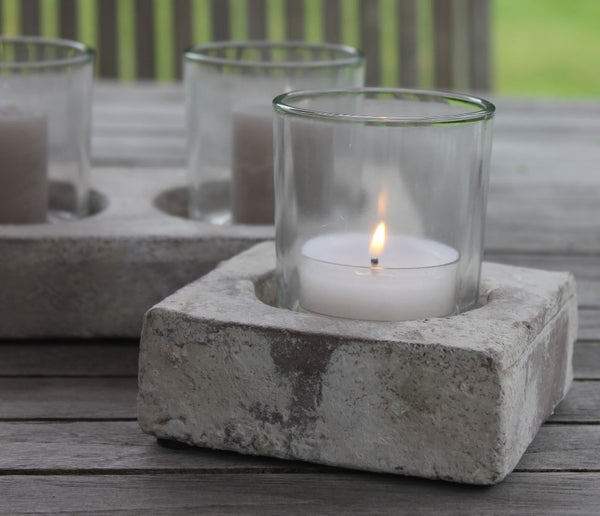 Stone effect tealight holder