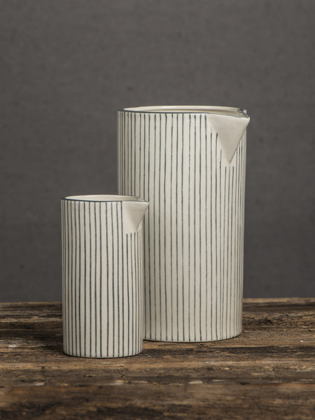 Stripey Stoneware Pitcher - Grey or Pink - Two Sizes - Greige - Home & Garden - Chiswick, London W4
