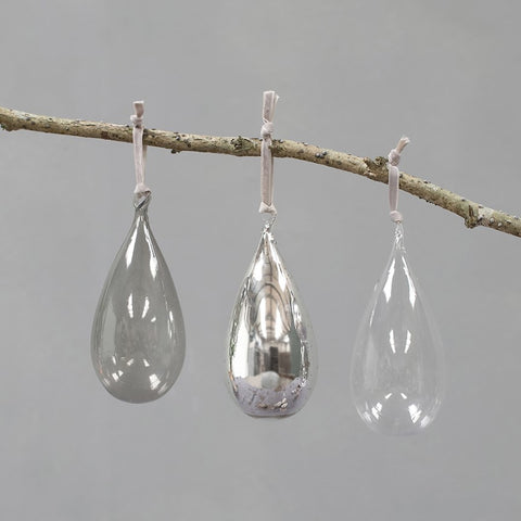 Set of three glass baubles silver, smoke and clear glass