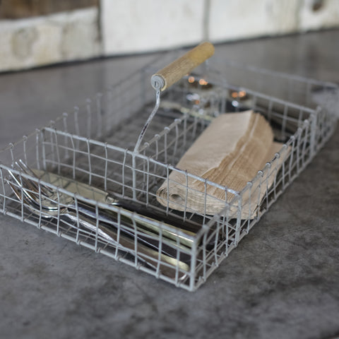 metal wire cutlery carry tray basket