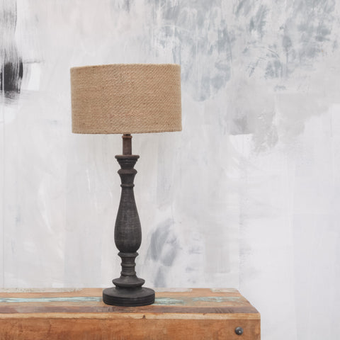 Tall Mango Wood Lamp Base with Distressed Black Finish