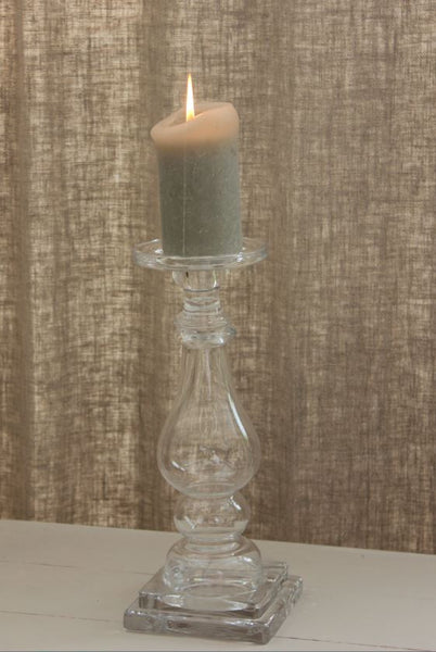 Tall Chunky Glass Candlestick - Greige - Home & Garden - Chiswick, London W4