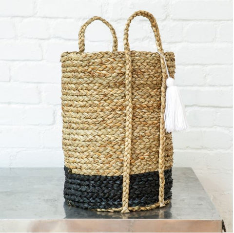 Tall Black Bottomed Seagrass Basket