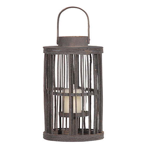 Tall Wooden Twig Lantern - Greige - Home & Garden - Chiswick, London W4