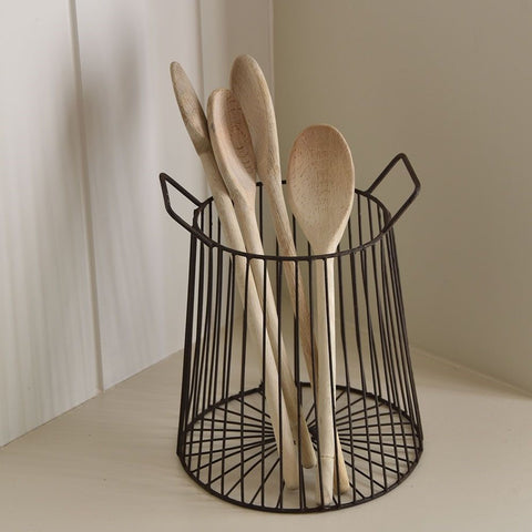 tall wire basket for utensils