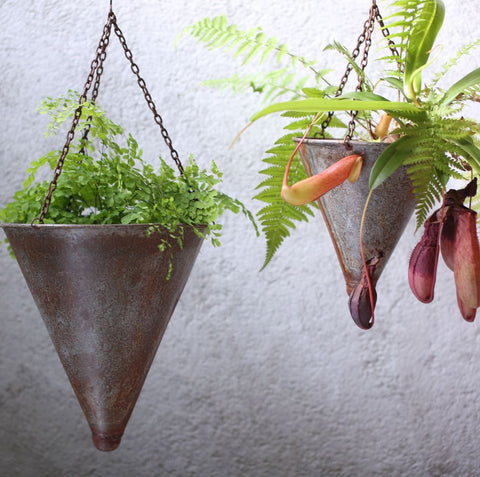 aged zinc tapered hanging planter