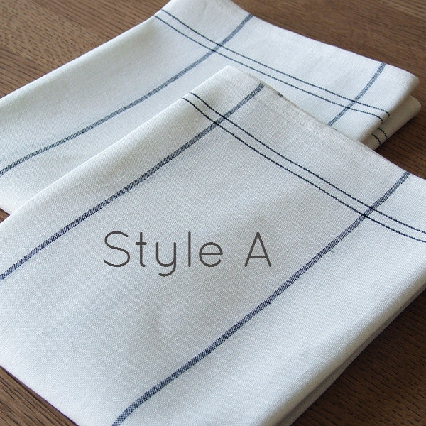 White & Graphite Grey Stripey Linen & Cotton Teatowels (Choice of Three Styles) - Greige - Home & Garden - Chiswick, London W4