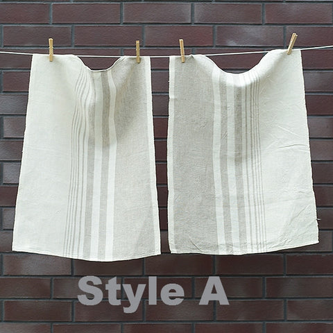 Off-White & Natural Stripey Pure Linen Teatowels x2 - Greige - Home & Garden - Chiswick, London W4