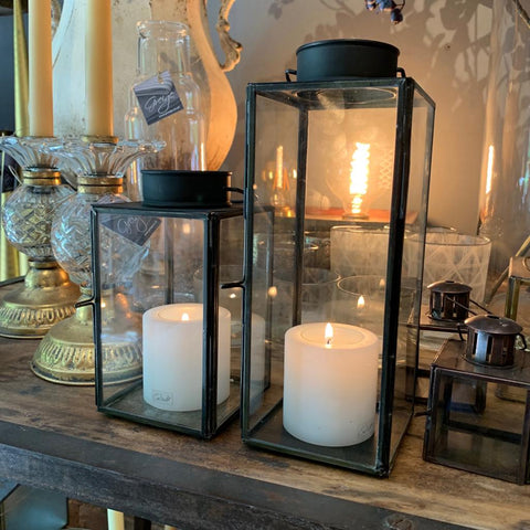 Black Antiqued Tealight Lanterns - Greige - Home & Garden - Chiswick, London W4