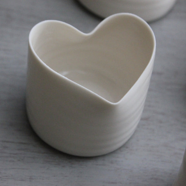 Hand-Thrown Porcelain Heart Tealight Holders - Greige - Home & Garden - Chiswick, London W4