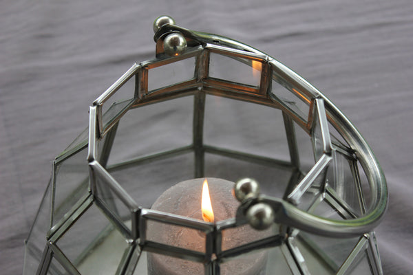 Clear Glass & Metal Lantern