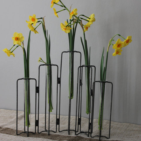 test tube vases on iron stand