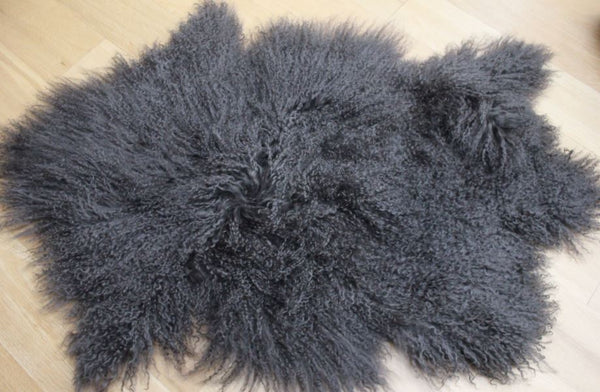 Stunning Tibetan Sheepskin Rug or Throw - Steel