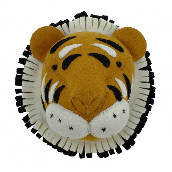Mini Tiger Felt Wall Head by Fiona Walker, England - Greige - Home & Garden - Chiswick, London W4