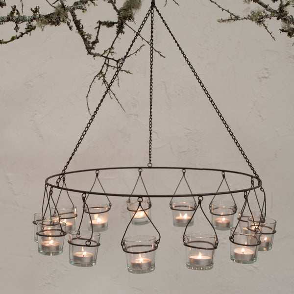 Hanging Tealight Chandelier for 13 glass tealight holders