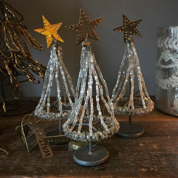 Tiny Beaded Silver Christmas Tree from Walther & Co, Denmark - Greige - Home & Garden - Chiswick, London W4