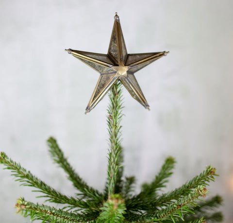 antique brass and mirrored glass star tree topper