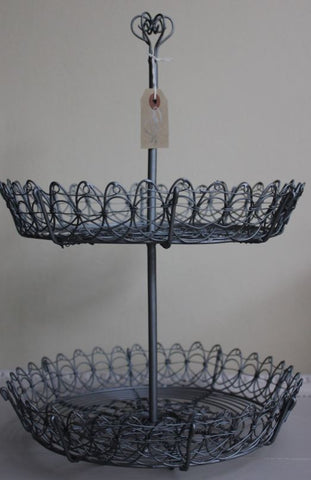 Beautiful Two-Tier Metal Basket - Greige - Home & Garden - Chiswick, London W4