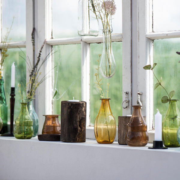 Set of Eight recycled glass vases colourful