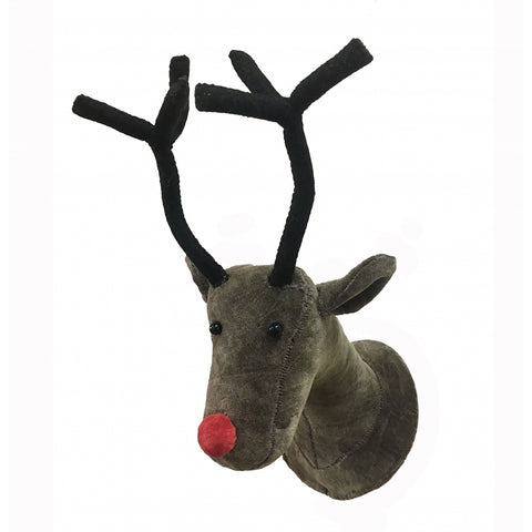 Mini Velvet and Felt Reindeer Wall Head by Fiona Walker, England - Greige - Home & Garden - Chiswick, London W4