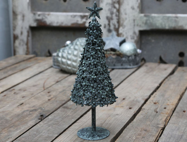 vintage french style metal Christmas tree antique verte green