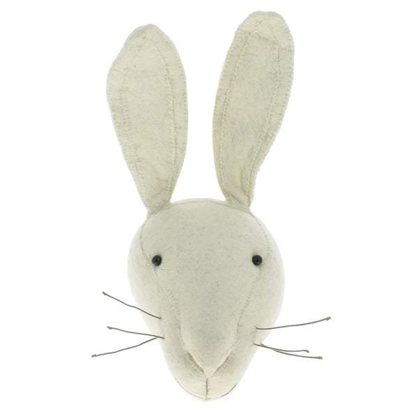 Felt White Rabbit Head - Greige - Home & Garden - Chiswick, London W4