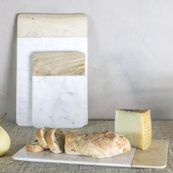 White Marble and Mango Wood Platter - Two Sizes - Greige - Home & Garden - Chiswick, London W4
